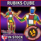 FANCY DRESS COSTUME # ADULT 1970s 80s RUBIKS CUBE SECOND SKIN SUIT MEDIUM